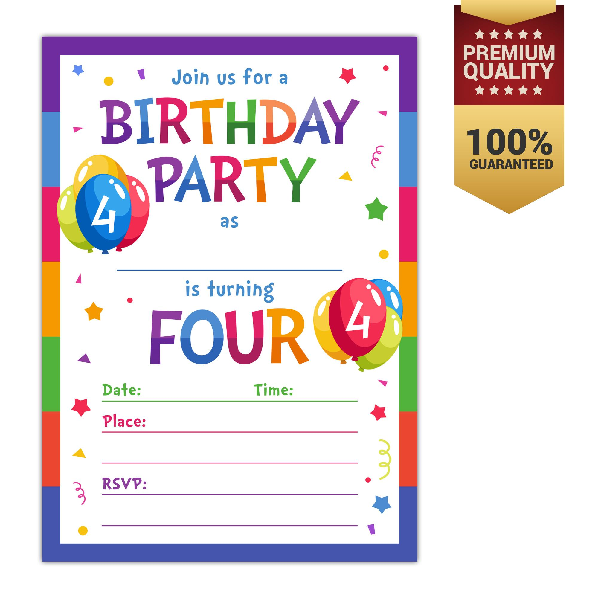 Invitation cards for sale party cards online brands prices 4th birthday party invitations with envelopes 10 count 4 year old kids birthday stopboris Choice Image