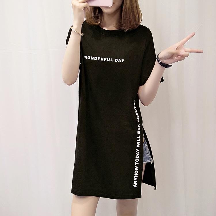 536478aded6f Summer Wear Slimming Side Fork Lettered Loose And Plus-sized Short Sleeve  T-shirt