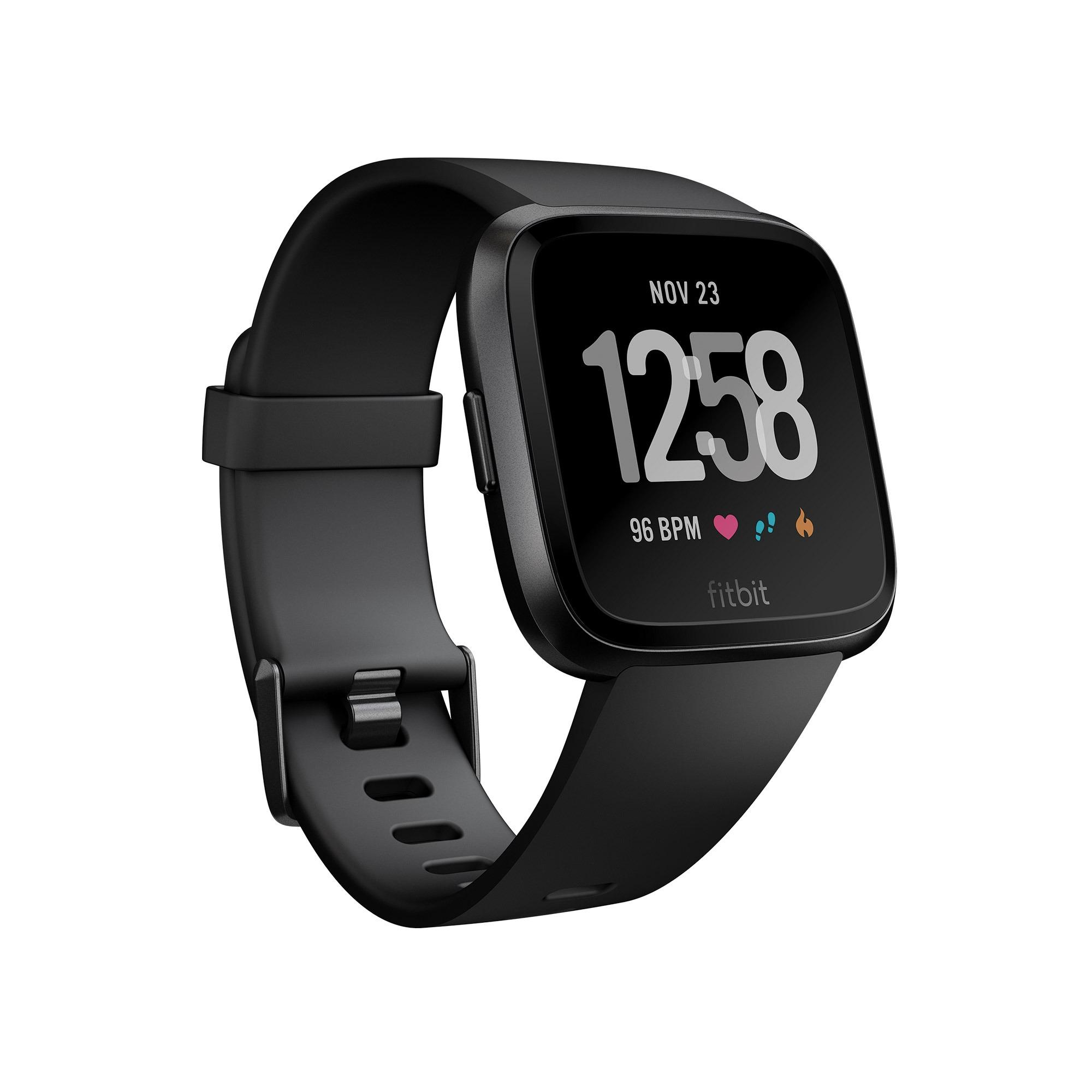Fitbit Versa Water-Resistant Smart Watch + Heart Rate/Activity Tracker (2  Strap Sizes in the box) - Black/Black Aluminum