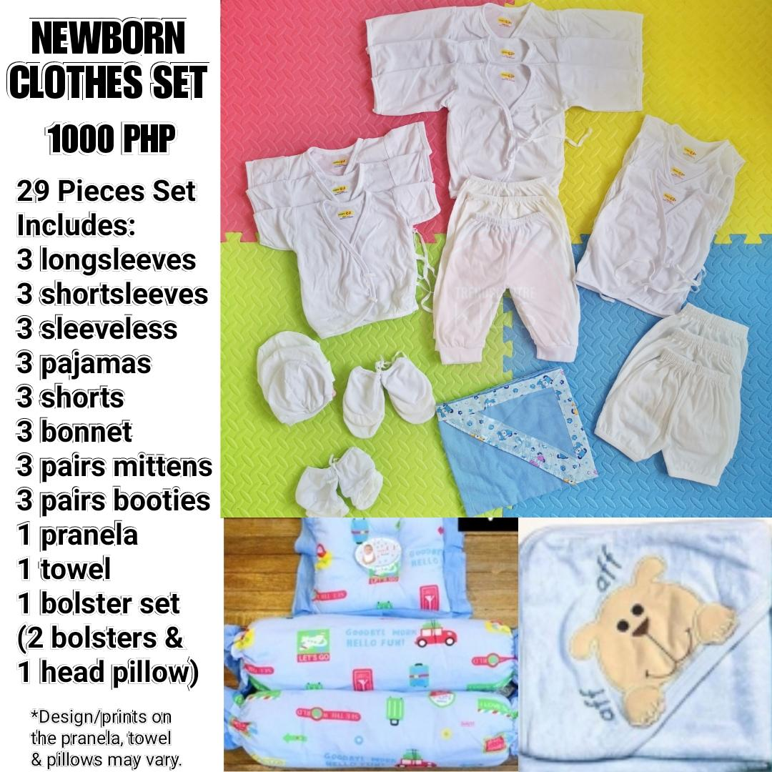 4090913818b01 29 PCS NEWBORN STARTER ESSENTIALS PACK INFANTS WEAR PLAIN WHITE BASIC BABY  CLOTHES COMPLETE SET WITH