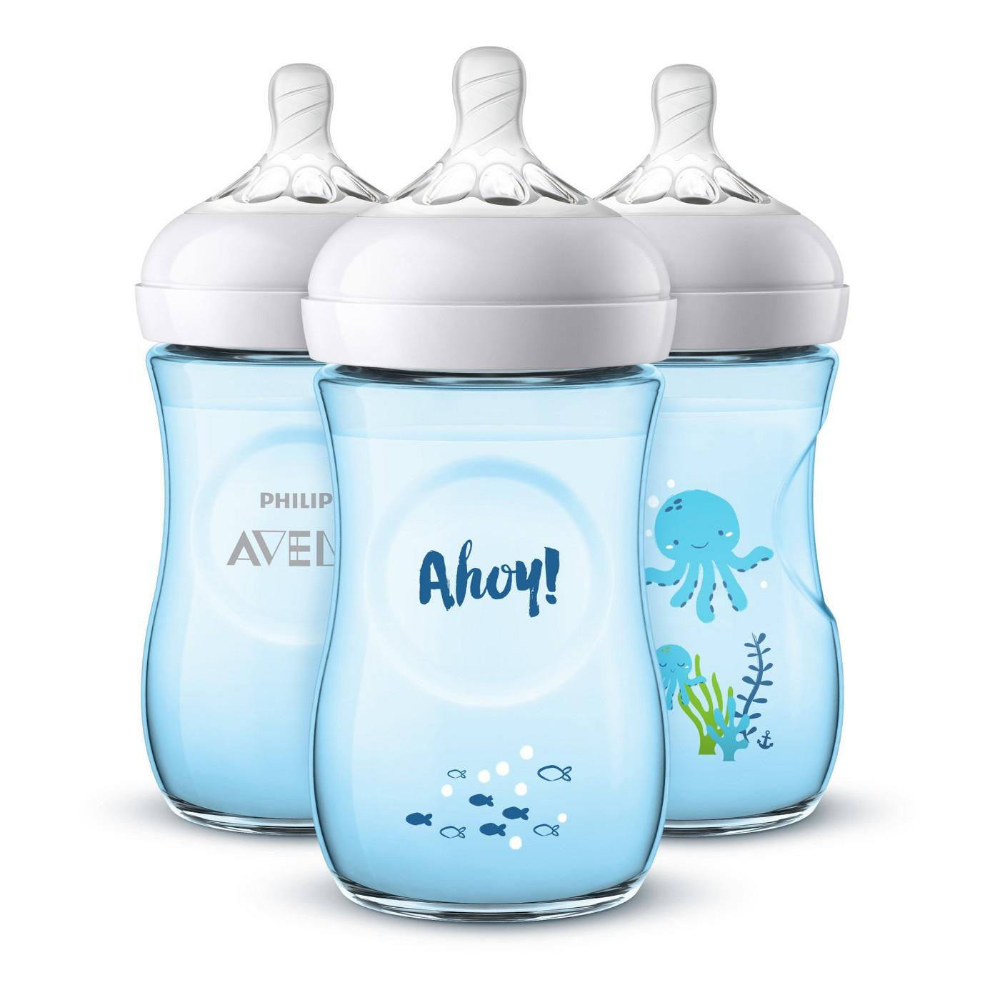 Philips Avent 1 Natural Bottle 260ml With Slow Flow Nipple 1m New Baru Design Extra Soft 9oz Special Edition Bottles Pack Of 3 Ahoy