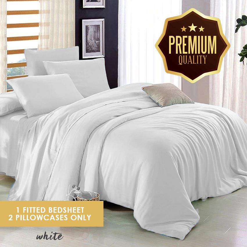 NEMURI Premium Quality White Plain Bedsheet 3in1 (1 Fitted Bedsheets With 2  Pillowcases) (