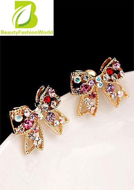 Colorful Crystal Gold Bowknot Chic Ear Stud Charm Earrings Women Lady Jewelry