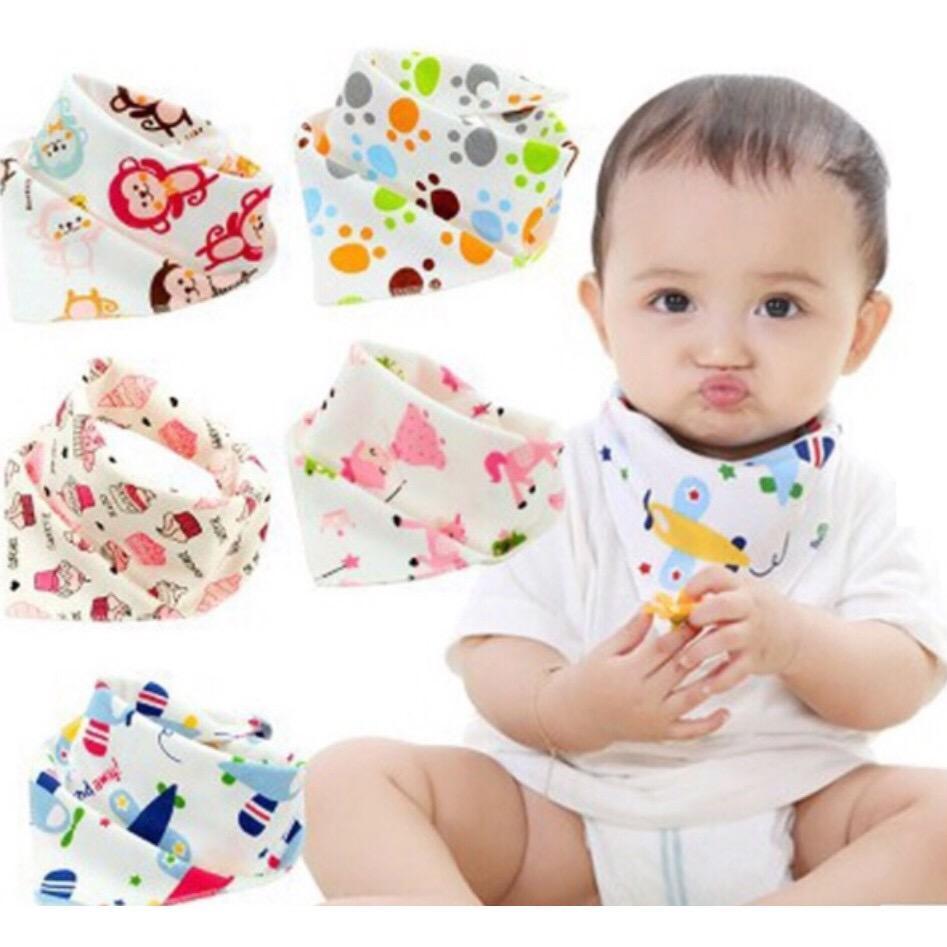 Set Of 5 Baby Bibdana 2 Sided Designs Triangle Cotton Towel By Miss Intrinsic Cute.