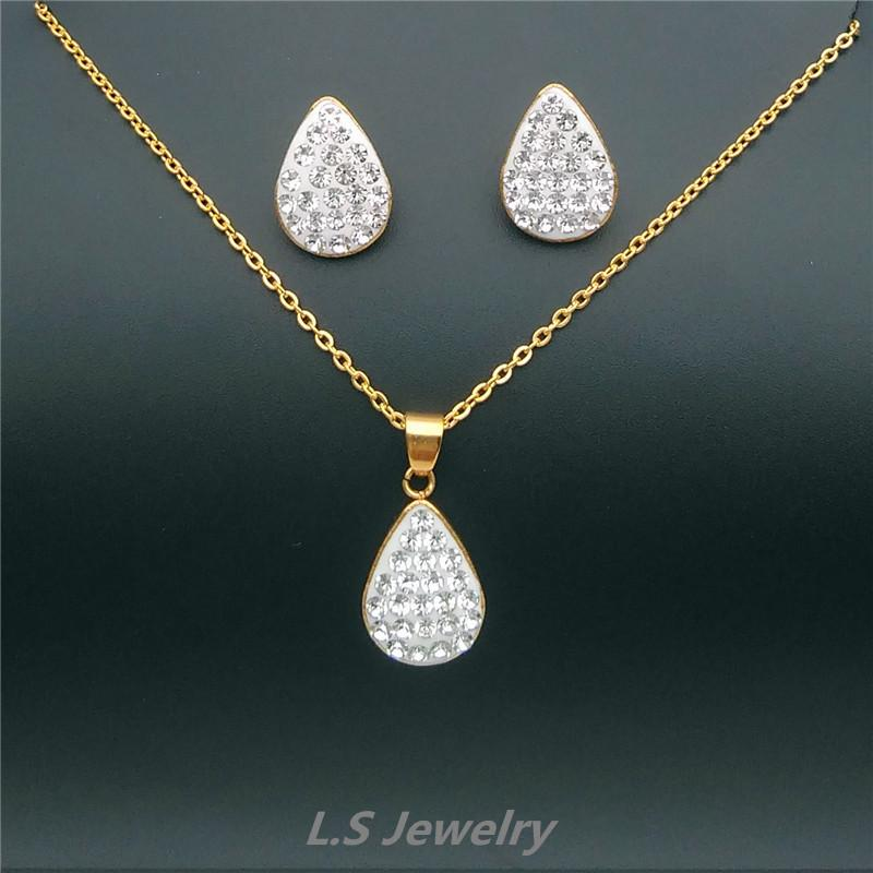 Party 18k White Gold Plated White Topaz Wing Jewelry Set Necklace Earrings Fashion Jewelry