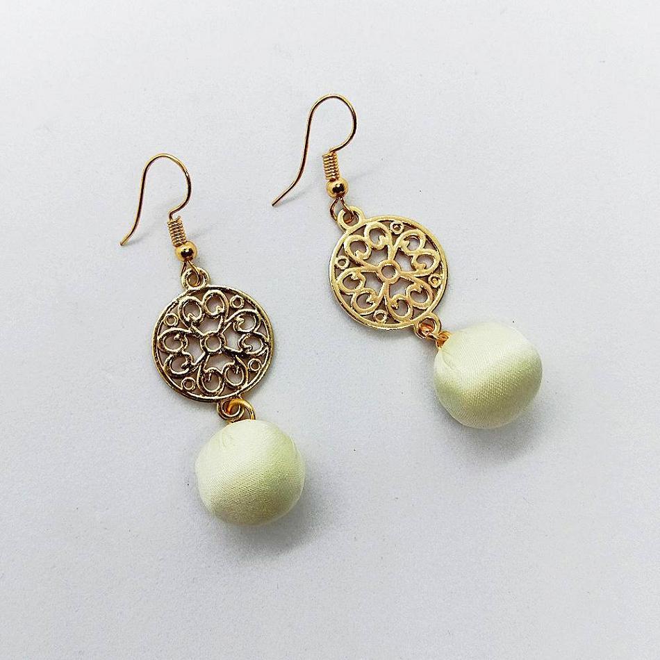 SAS Fashion Gold Earings with White Ball for Women