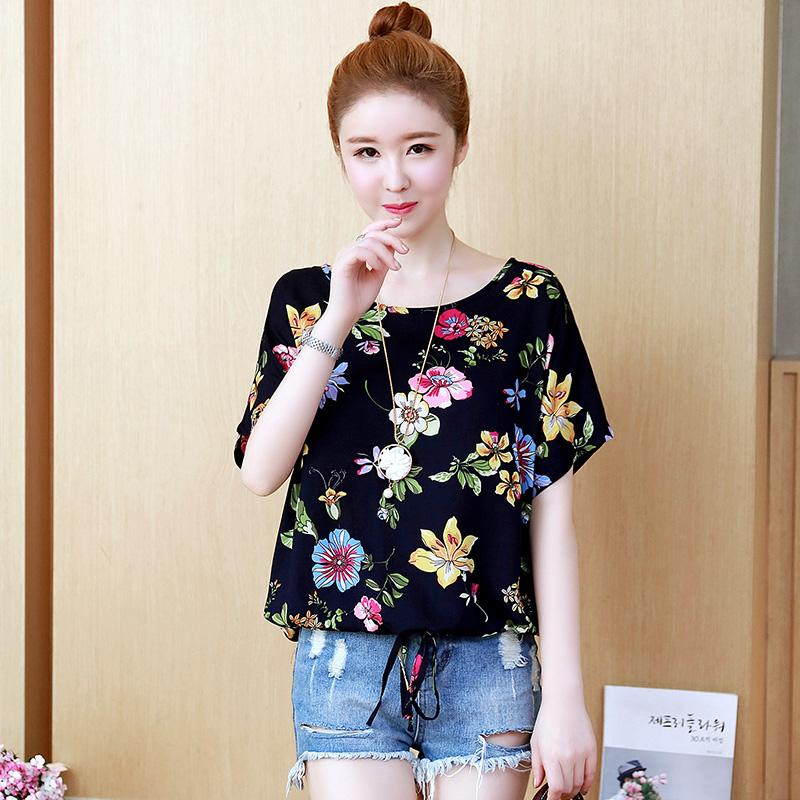 ac80a15e30a5 Summer New Style Korean Style Short Sleeve Printed Chiffon Shirt women  dress for women Loose And Plus-sized T-shirt Extra-large Floral Print Base  Tops ...