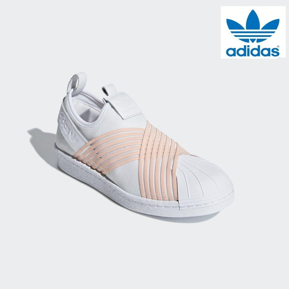 6fc4c041af5262 Adidas Women Originals Superstar Slip-on Shoes D96704 White Pink 100%  Authentic