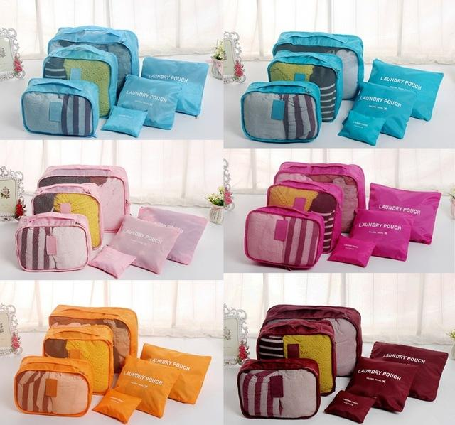 6Pcs Clothes Storage Bags Packing Cube Travel Luggage Organizer Pouch