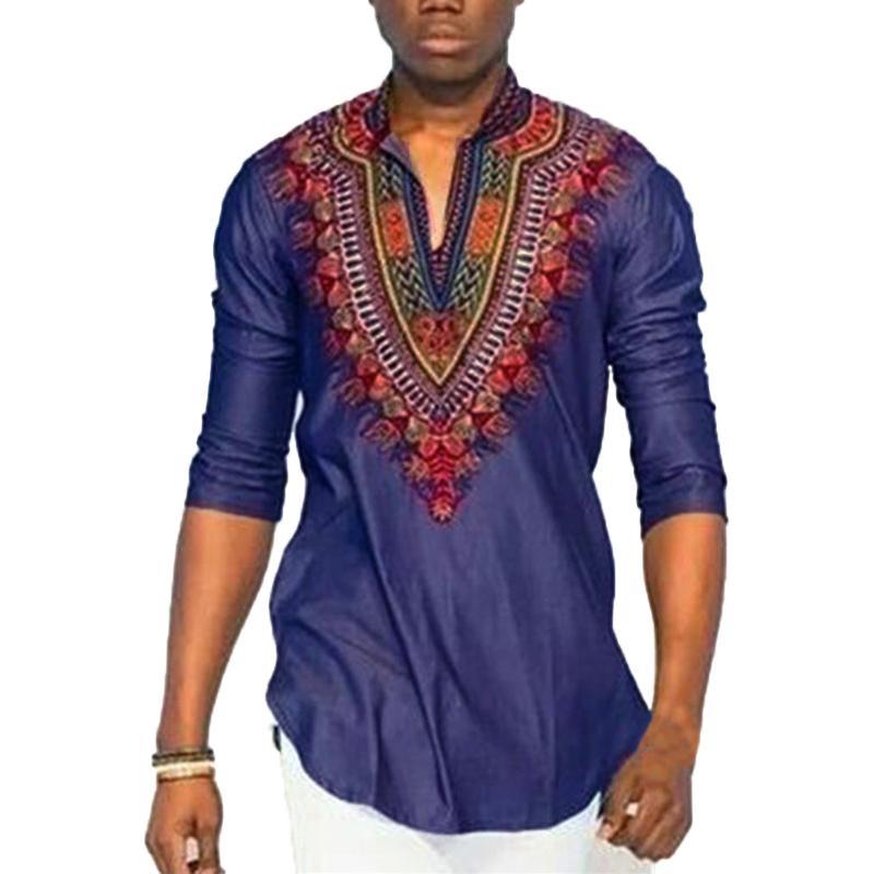 99077c46adf8 African Tribal Shirt Men Dashiki Print Blue Succinct Hippie Top Blouse  Clothing Blue