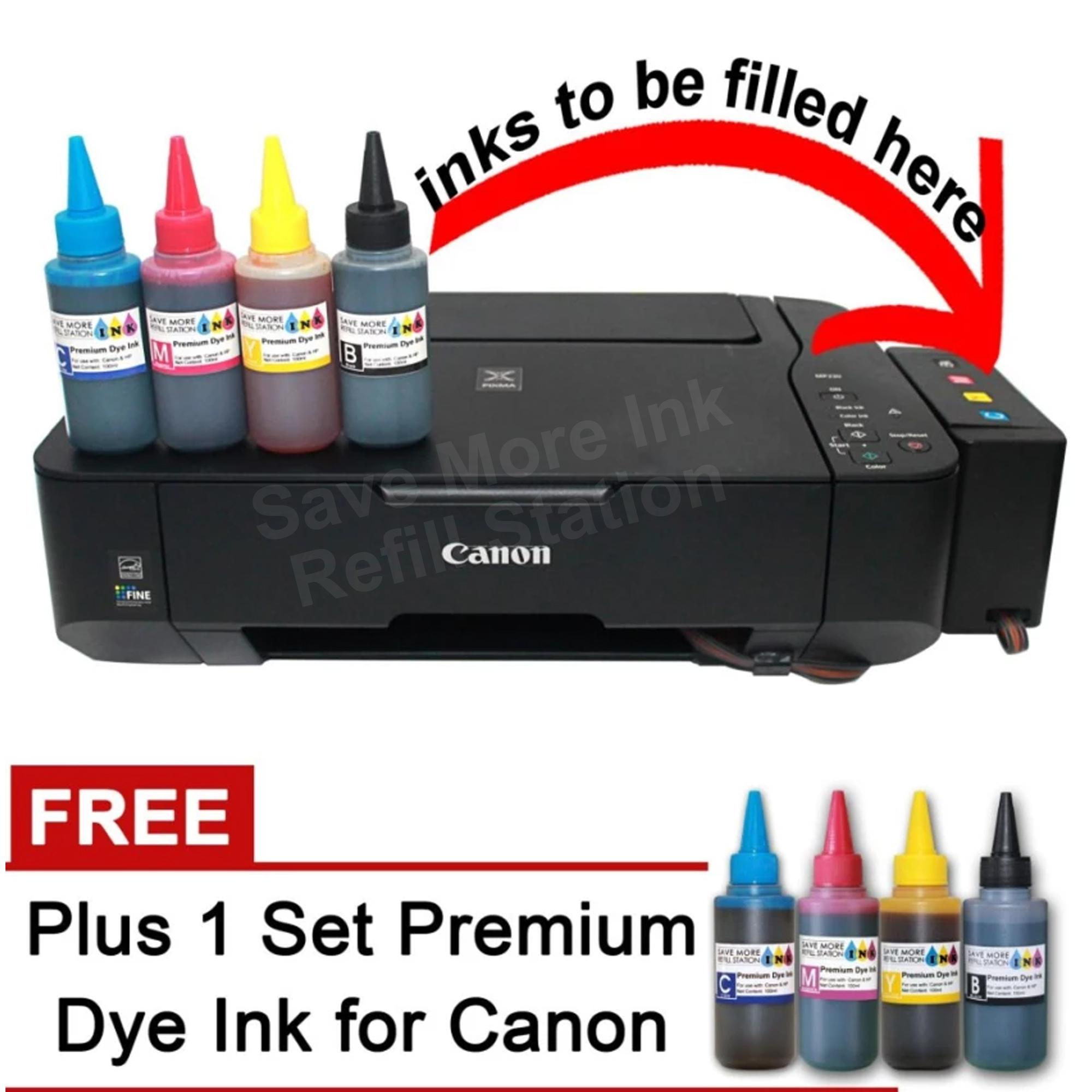 Canon Pixma MP237 3-in-1 Printer w/ CISS Filled w/ 4 Color Inks