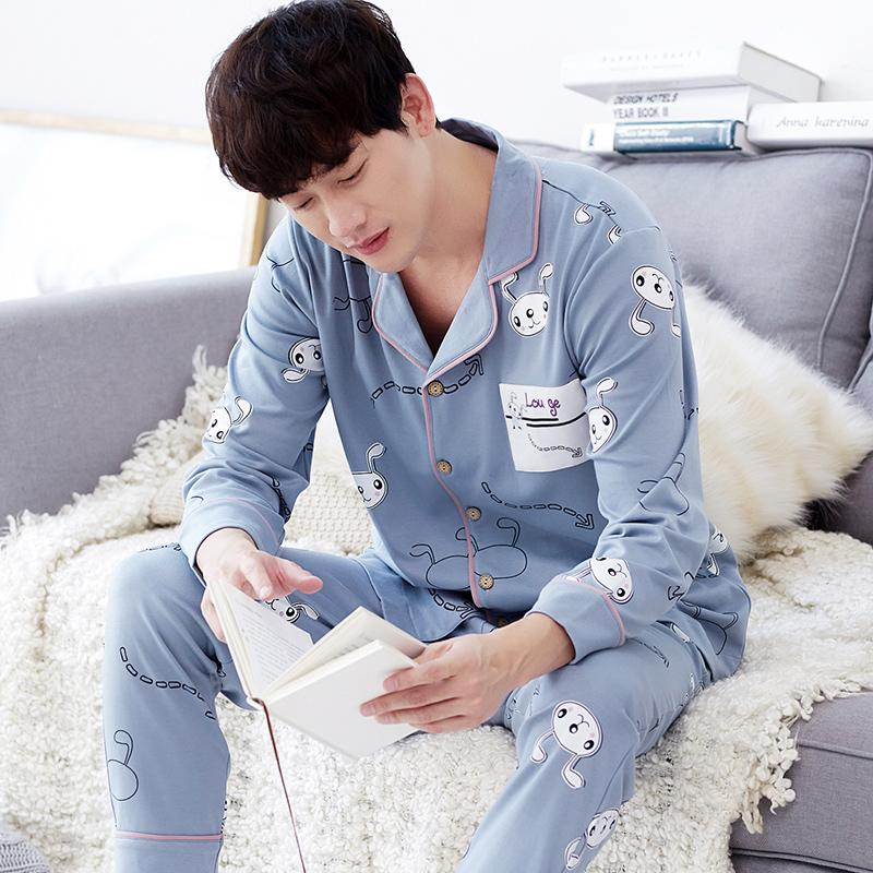 Spring And Autumn Men Long Sleeve Pajamas Korean Style Leisure Can Outer Wear Cardigan Teenager Plus-Sized Set Home Service Winter By Taobao Collection.