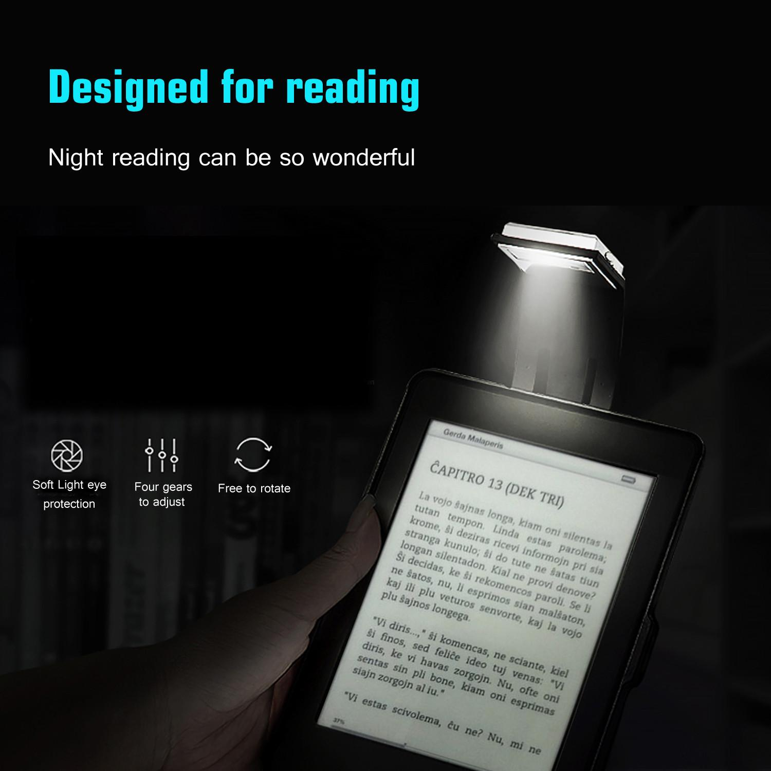 Four-Level Dimmer Eye Adjustable Protection Brightness Book Clip Book Ultra-Thin Usb Charging Reading Light Kindle Reading Light(black) - Intl By Leegoal.