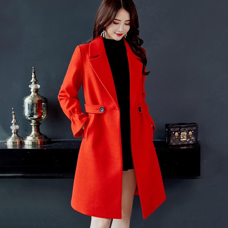 d333013150 Caidaifei 2018 Autumn And Winter New Style Korean Style Slimming women  dress for women Solid Color Slim Fit Woolen Jacket Large Size Versatile  Duffle ...