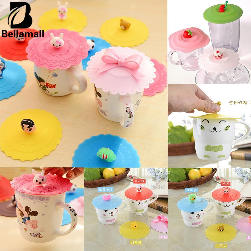 Bellamall Cute Anti-dust Silicone Glass Cup Cover Coffee Mug Suction Seal Lid Silicone Cartoon