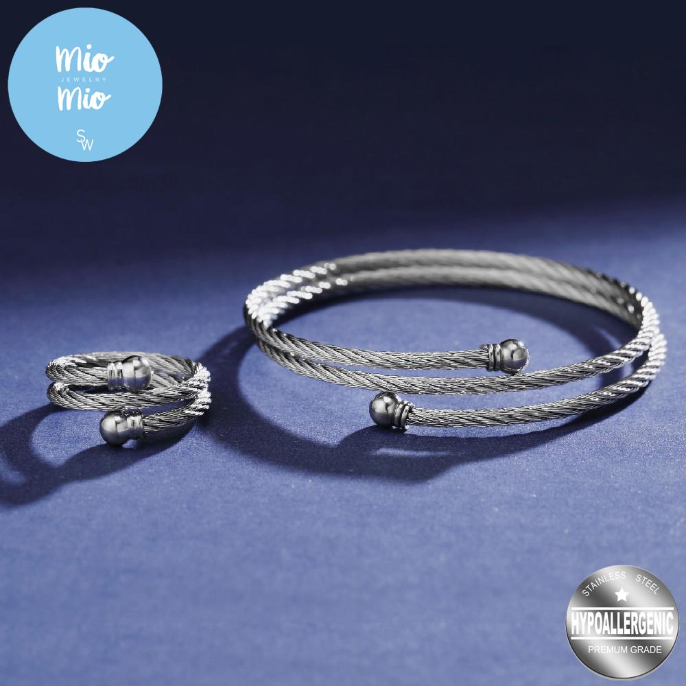 82a21984c68 Silverworks 316L Stainless Steel - Double Twisted Cable Bangle and  Adjustable Ring with Balls on End