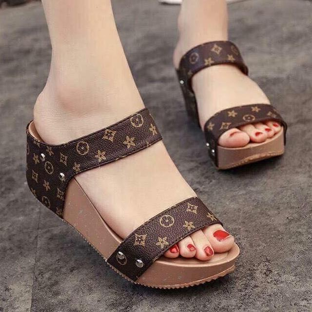 979089b45f0 SALE Women s Two Strap Coffee Slip-On Wedge Sandals Adjust One Size