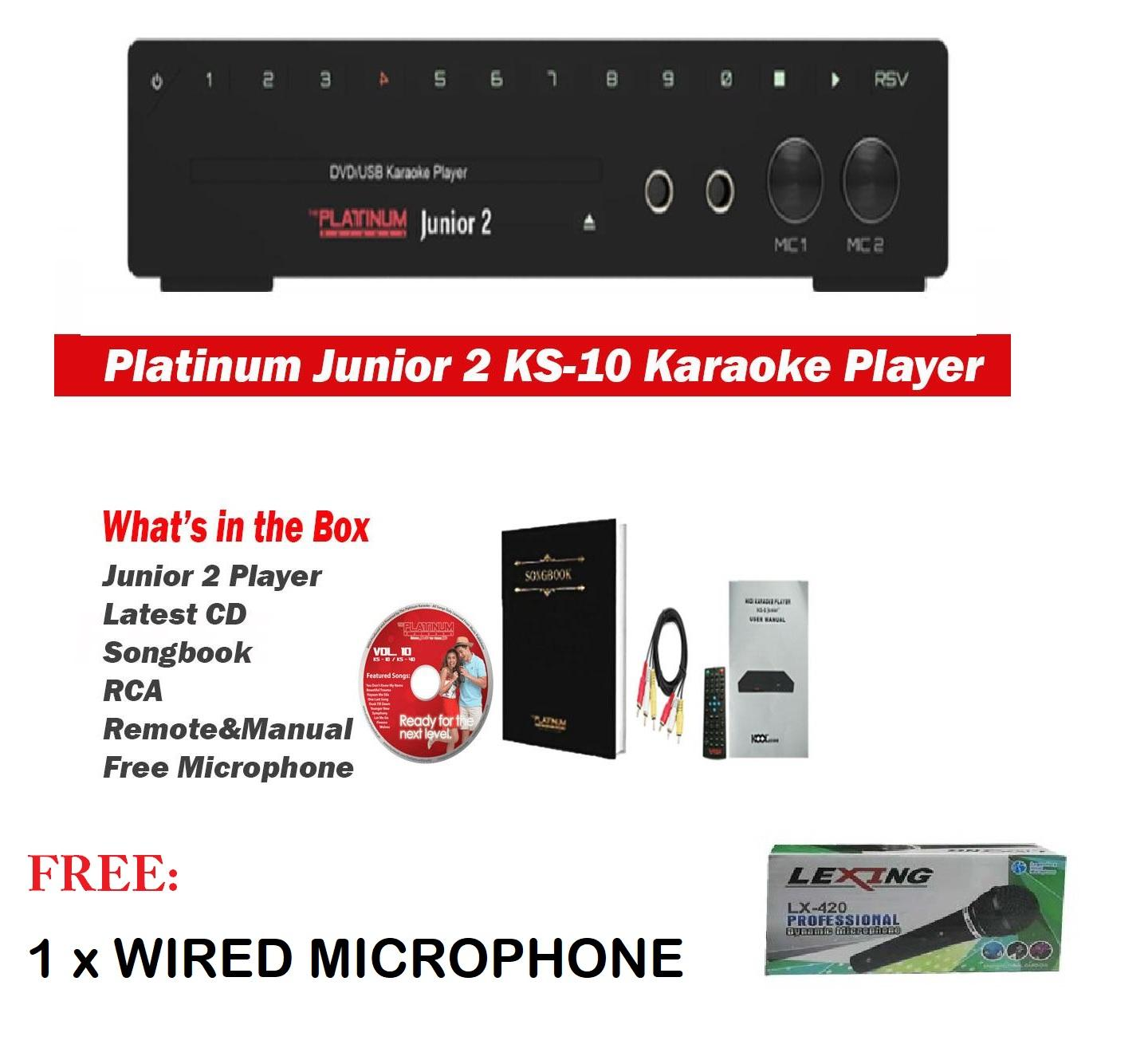 The Platinum Junior 2 Ks-10 Dvd Karaoke Player W/ Free Wired Microphone Lexing By Pearly Fashion.