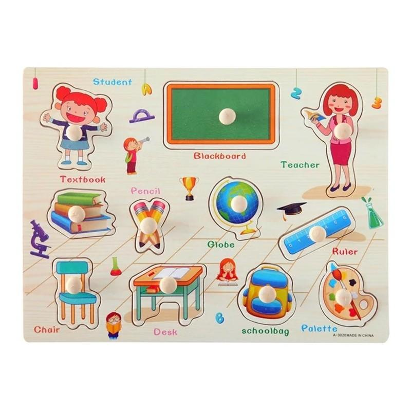 Wooden Board Toys School Puzzle Educational By Baratilla.