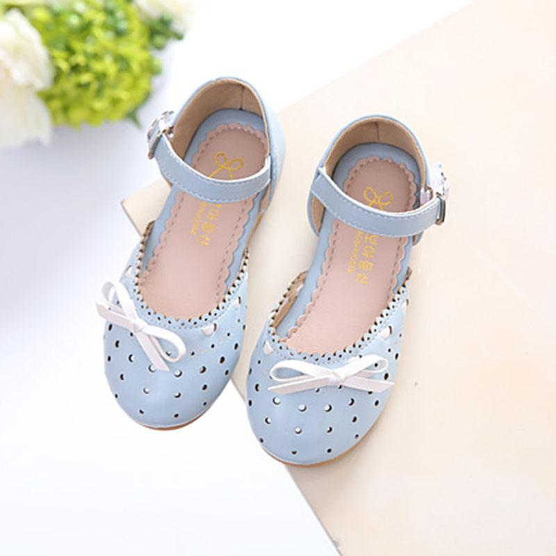 Children Leather Shoes Sandals 2017 Summer New Style Girls Sweet Bow  Princess Shoes Closed-toe 1468d001e2ae