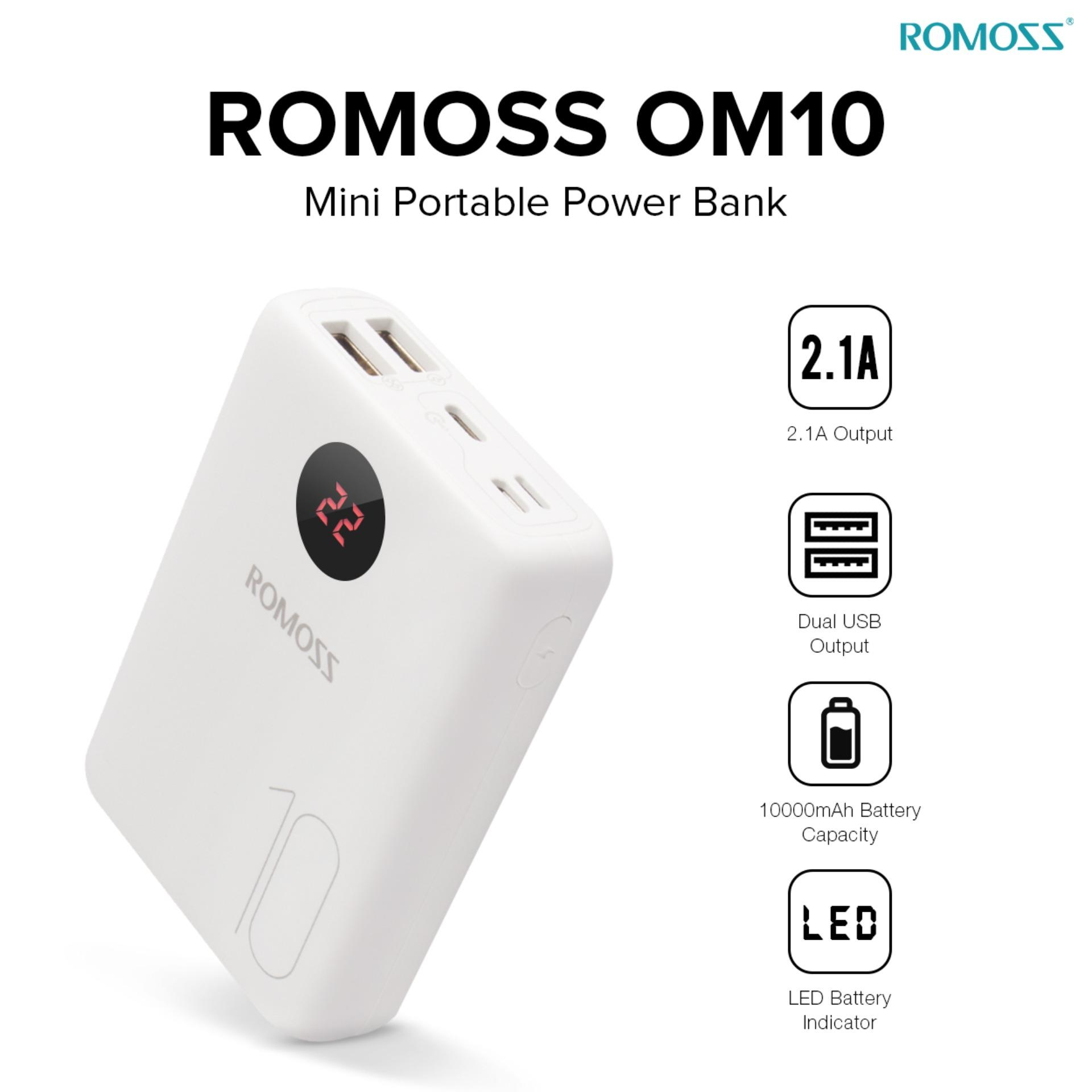 Power Bank For Sale Charger Prices Brands Specs In Mobile 18650 Polymer Pcba Circuit Board Diy Dual Usb 5v 1a Romoss Om10 10000 Mah Ultra Thin Powerbank White