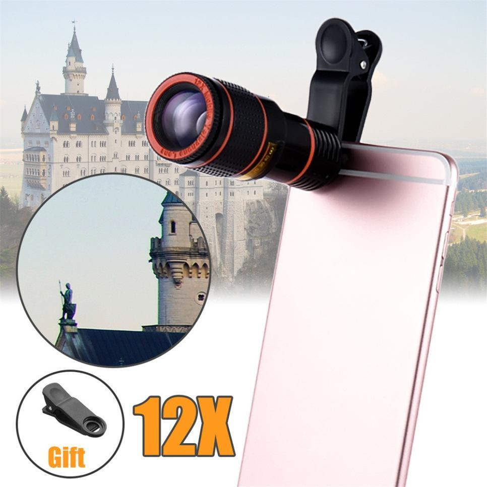 HD 12x Optical Zoom Camera Telescope, Lens With Clip For Universal smart phones ,Zoom
