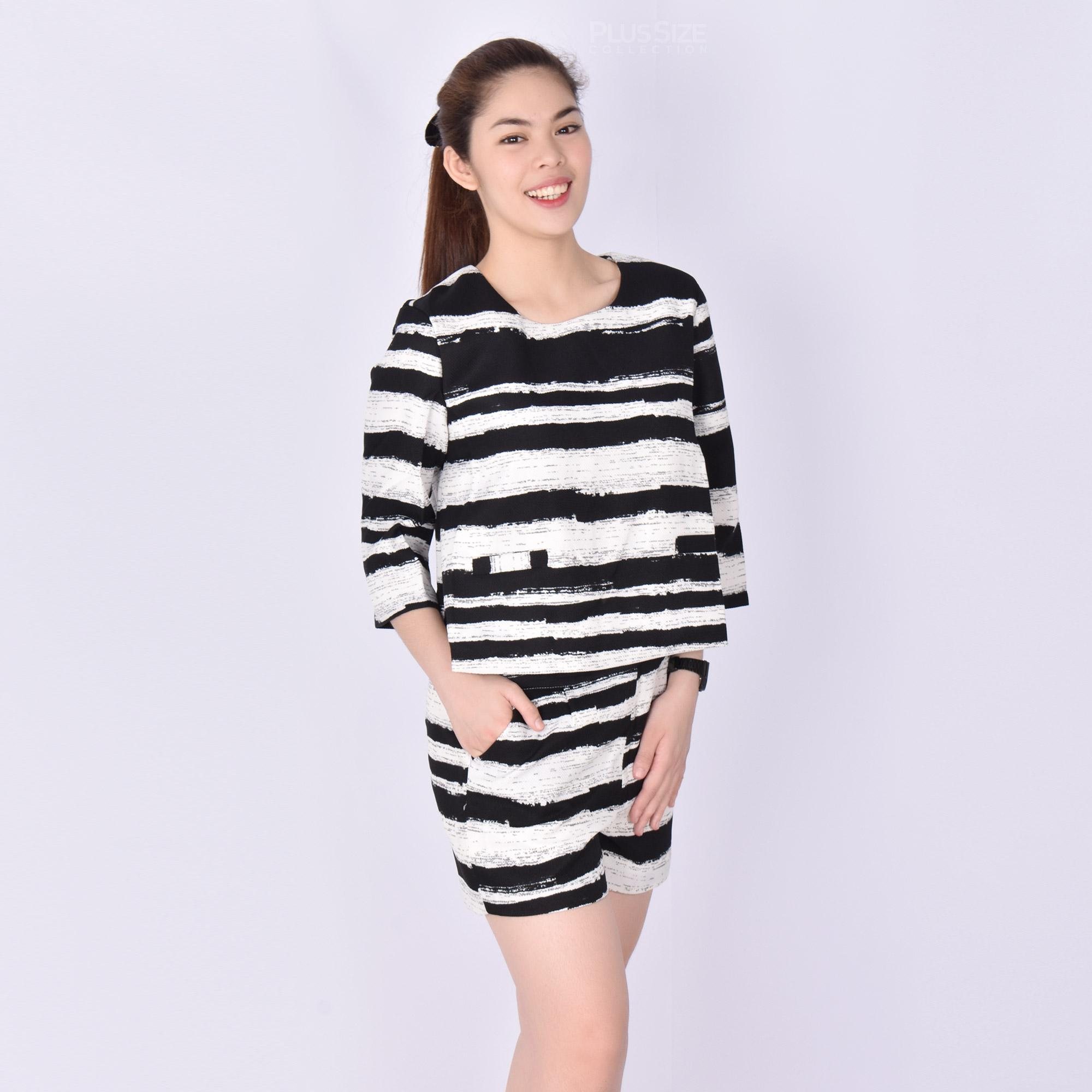 005d6c34d88a4c Korean Stripe Black   White Trendy Fashion Tweed Elegant Terno Blouse    Short 3 4