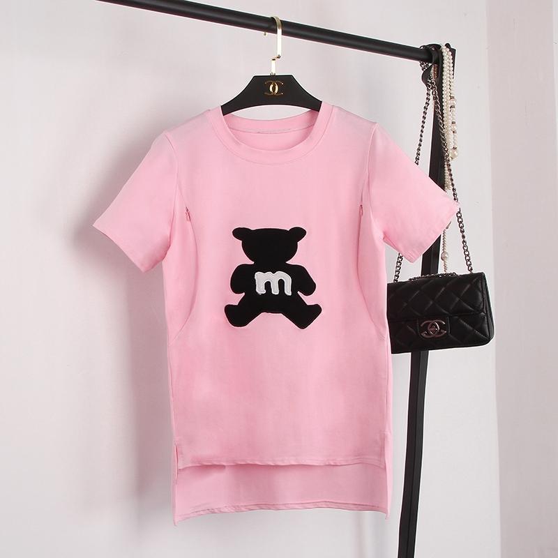 27ef2a5ed71f9 2019 New Style Nursing Shirt Summer Short-sleeved Mid-length Feeding T-shirt