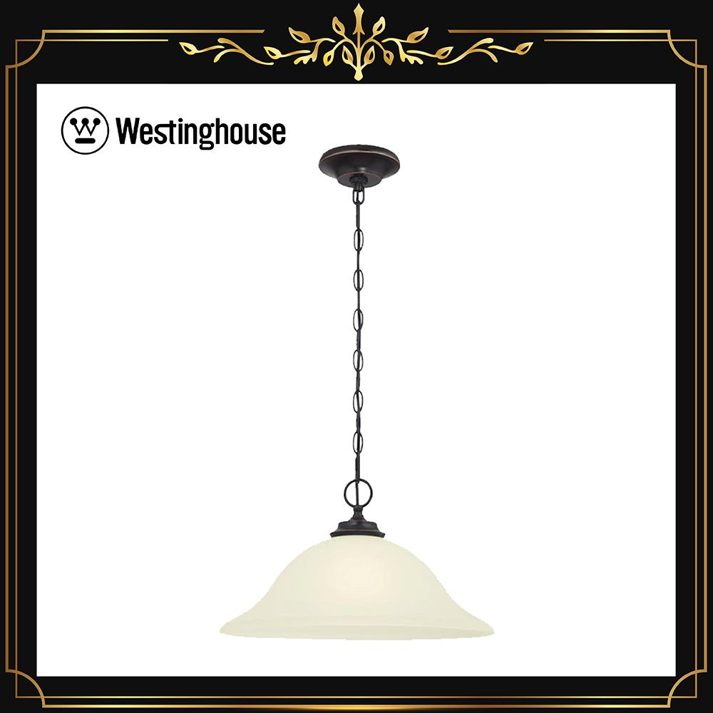 Westinghouse harwell 63043 1 light indoor pendant with frosted glass amber bronze