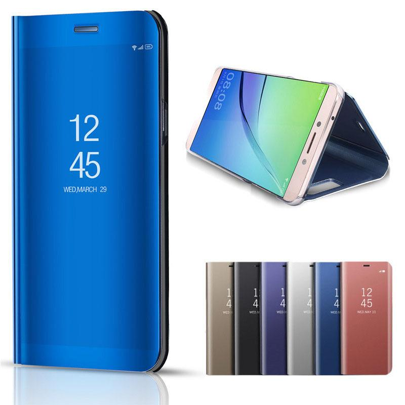 Smart Electroplating Mirror Vertical Support holster Case For Samsung Galaxy Note 9 Classic Flip Leather Stand