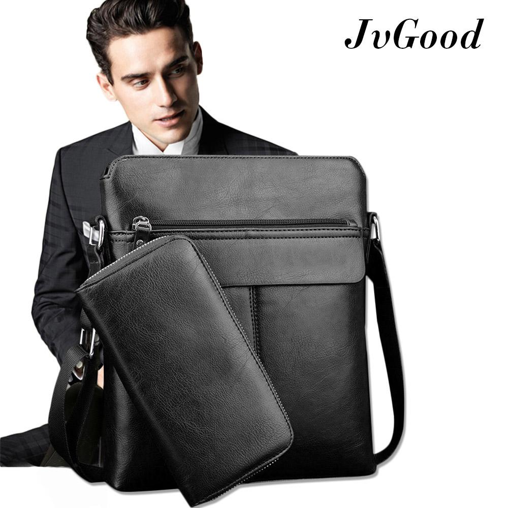 139841a37c JvGood PU Leather Mens Shoulder Bags Crossbody Bag Messenger Bag Big Tote Male  Bags With Wallet