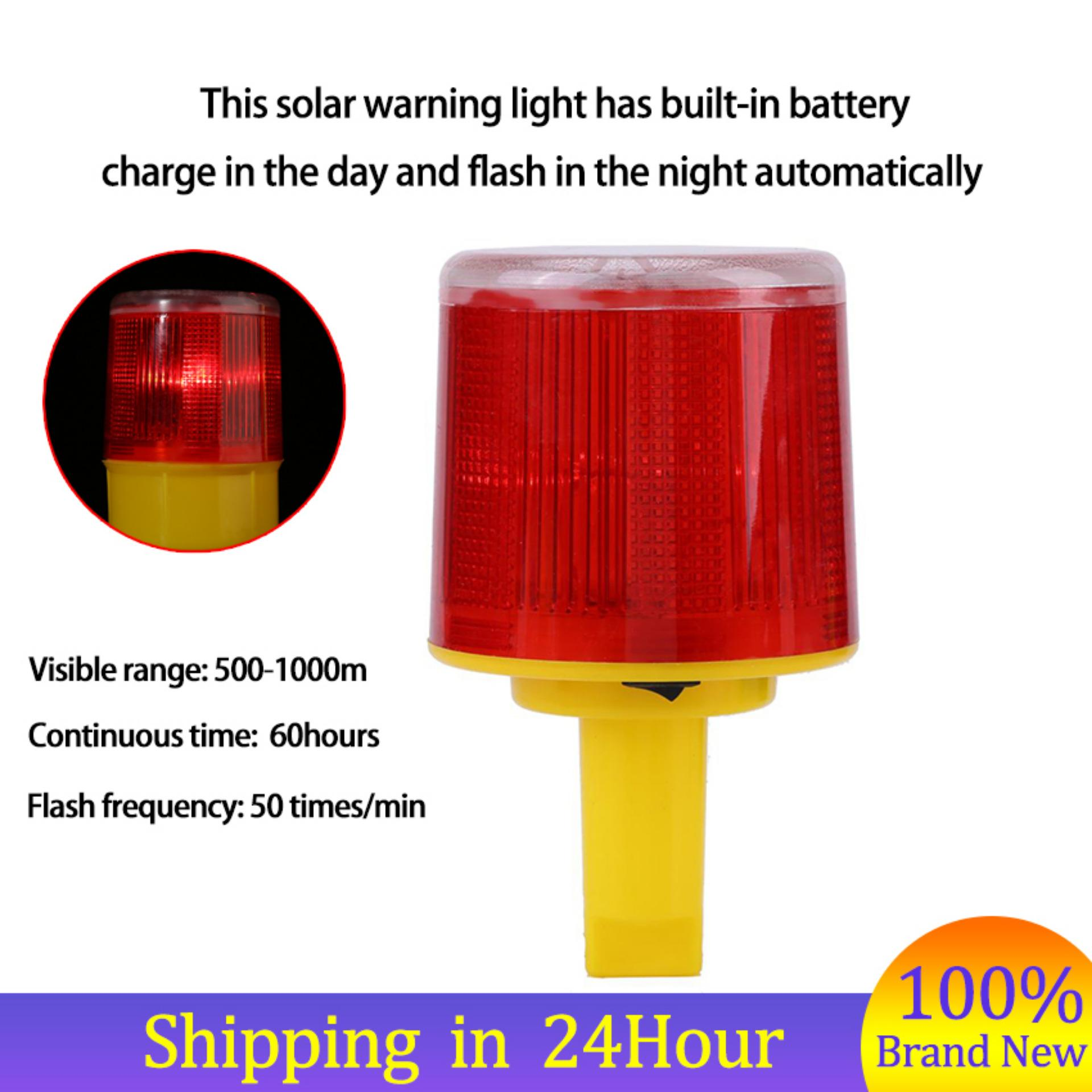 【The More Save ₱762】1pc Solar LED Emergency Warning Flash Light Alarm Lamp Traffic Road Boat Red Light - intl Philippines