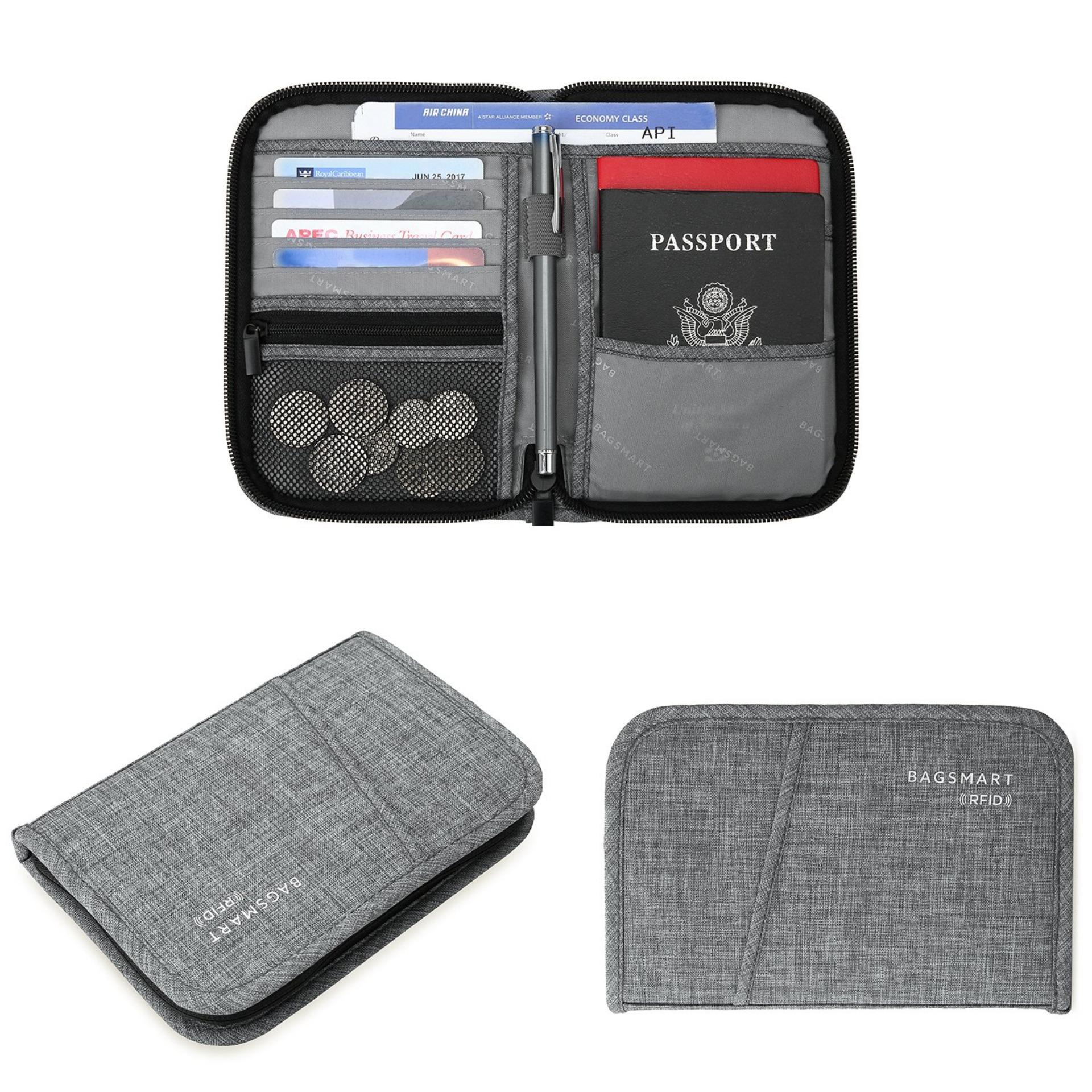 f1fb0fd5f5f1 BAGSMART BM0200093A008 TRAVEL RFID BLOCKING WALLET PASSPORT HOLDER COVER  CREDIT CARD ORGANIZER