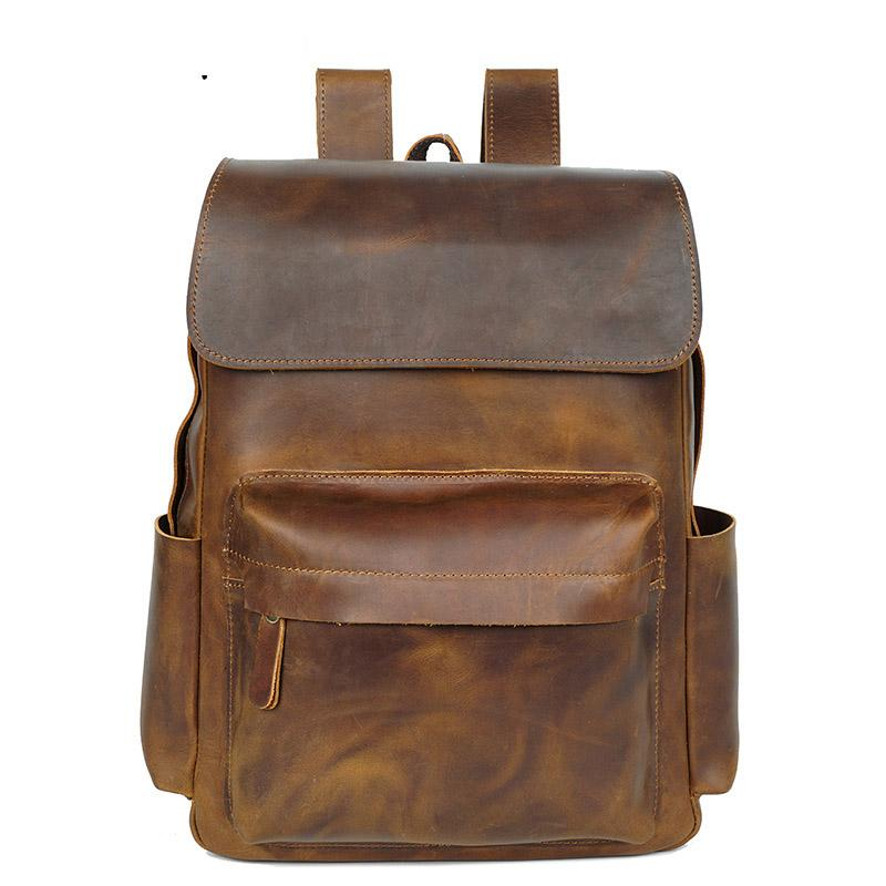 b7942bec9036 Horse Leather Men Backpack Europe And America Vintage Men s Real-leather  bag bags Full-