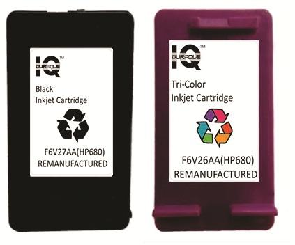 Remanufactured Hp 680 (black) With Hp 680 (tri-Color) Ink Cartridge By Iq Durable.