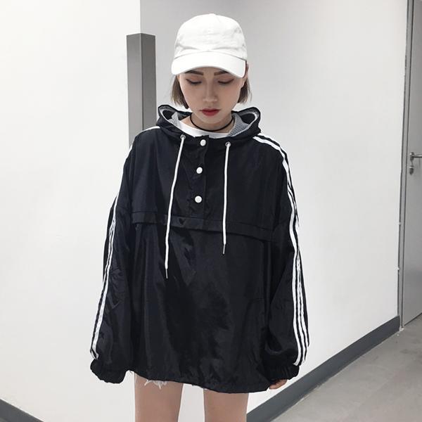 43606e01dbd2 Harajuku Wind Thin Coat women South Korea Ulzzang Korean Style Loose  Baseball Uniform Hooded Sun Protection