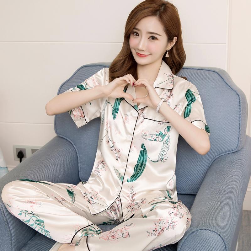 5f73ec87ac1b Viscose Pajamas women Summer Set Korean Style Short Sleeve Trousers Two-Piece  Set Fresh Sweet