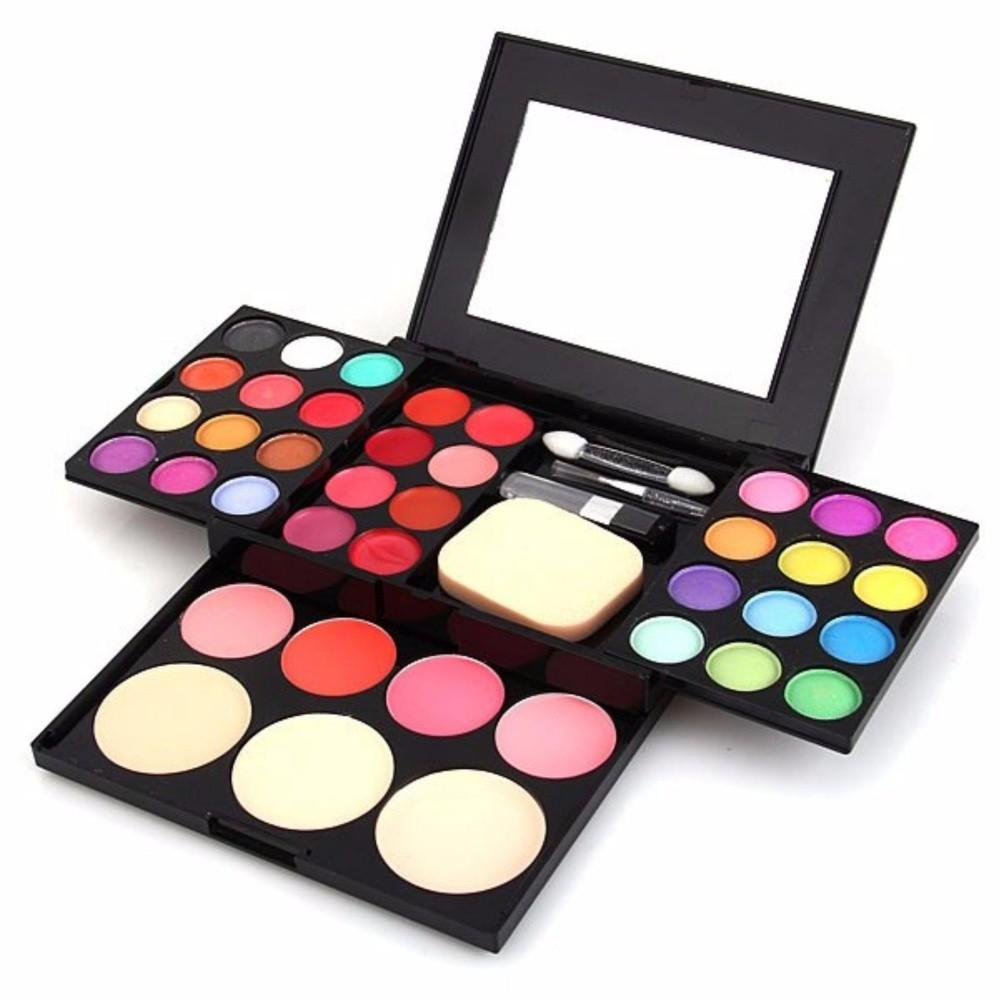 Fashion Oogschaduw Palet oogschaduw + Lipgloss + Blush Make Poeder Palet + Bladerdeeg Borstel Pen Tool Make Up Kit Set Philippines
