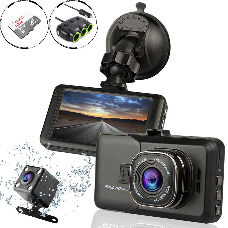 Vehicle Electronics & Gps Mouldings & Trim Hd1080p Car Dvr Dash Camera Dual Cam Vehicle Front Rear Dvr Lens Video Recorder