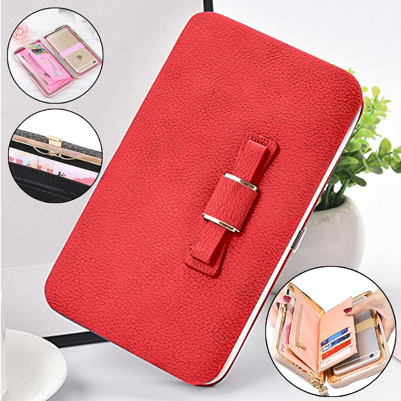 Korean Cute Bowknot Wallet Coin Purse Phone Holder Clutch Wallet Korean Wallet Cellphone Wallet Handbag Wallet