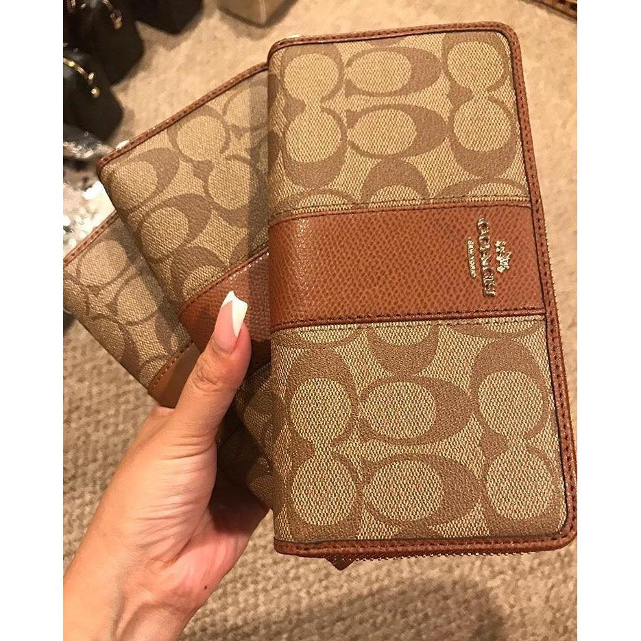 6cb063c3 Authentic Coach Accordion Zip Wallet In Signature Canvas With Leather  F52859 - Khaki