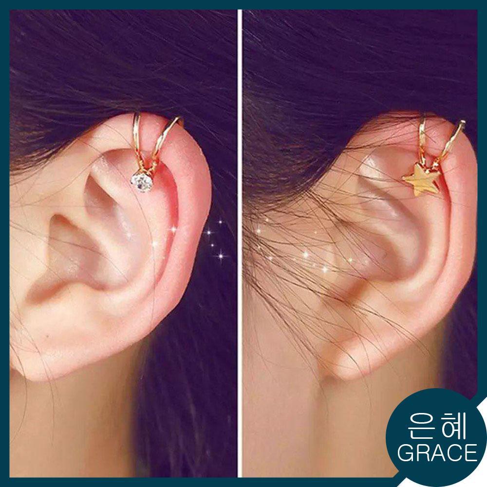 GRACE KOREAN FASHION Lovely Ear Cuff No Piercings Fashion Clip Earrings -1pc