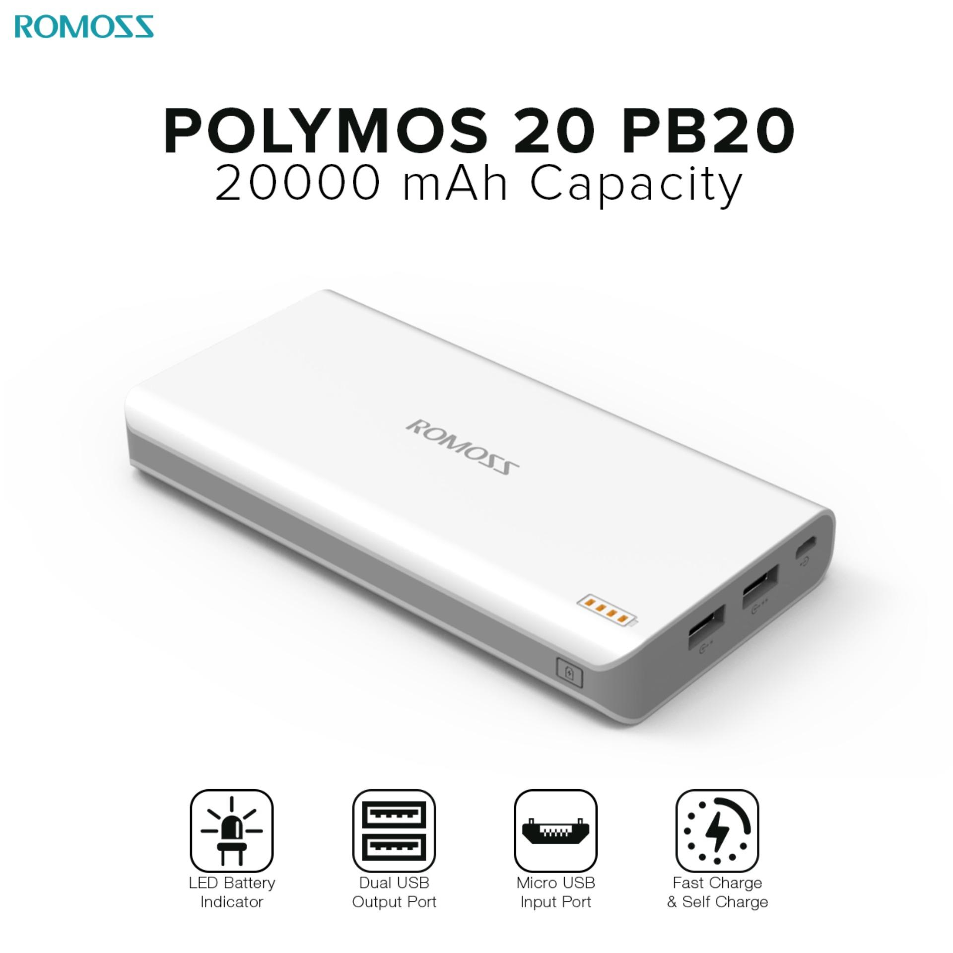 Buy Phone Tablet Batteries Chargers In Philippines Lazada Charger Mobil Car Saver Usb For Smartphone Romoss Polymos 20 Pb20 20000mah Fast Charging Power Bank White