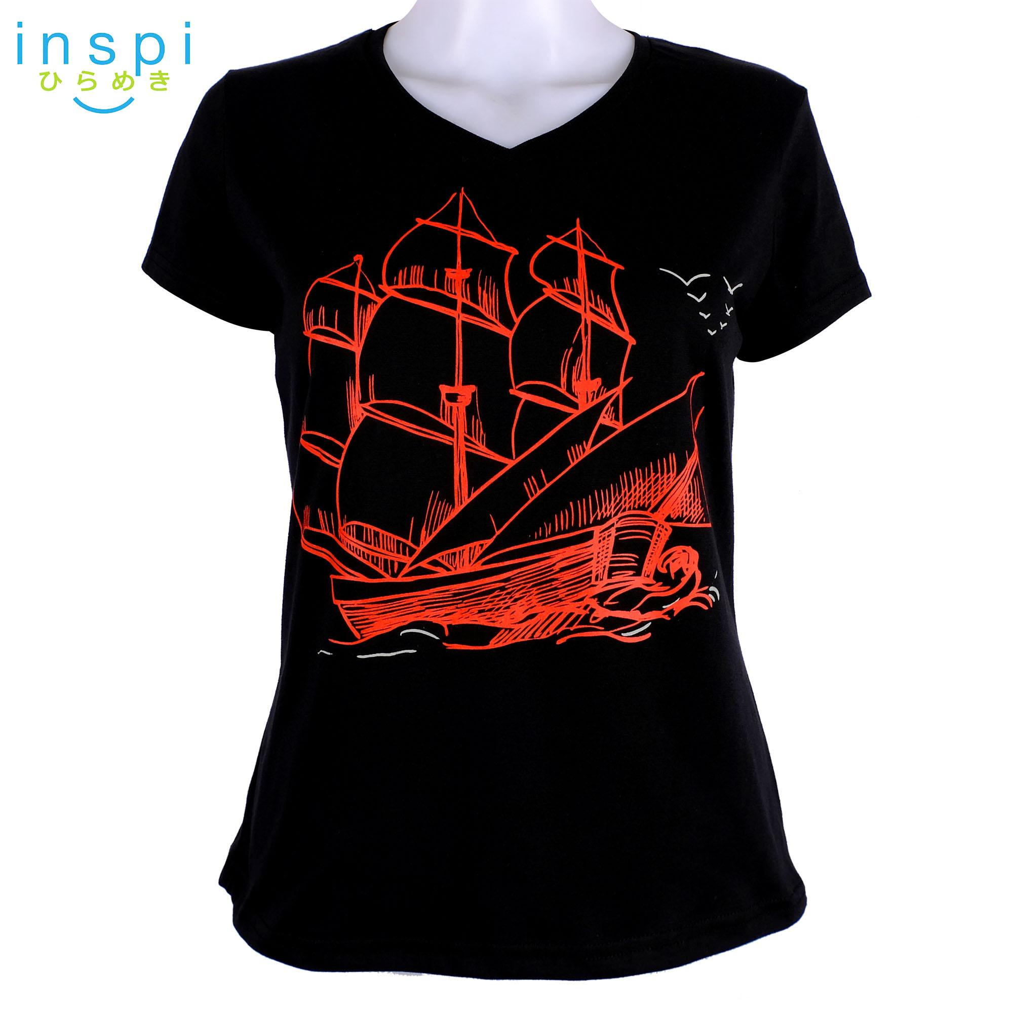 INSPI Tees Ladies Semi Fit Red Boat (Black) tshirt printed graphic tee t  shirt 05082a8855