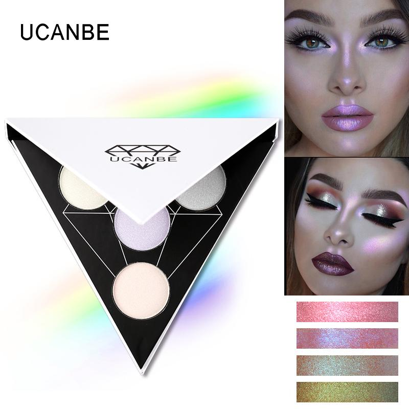 UCANBE Triangle Glitter Eyeshadow Palette Holographic Shade Eye Lip Face Makeup Shimmer Shine Powder Nude Eye Shadow Philippines