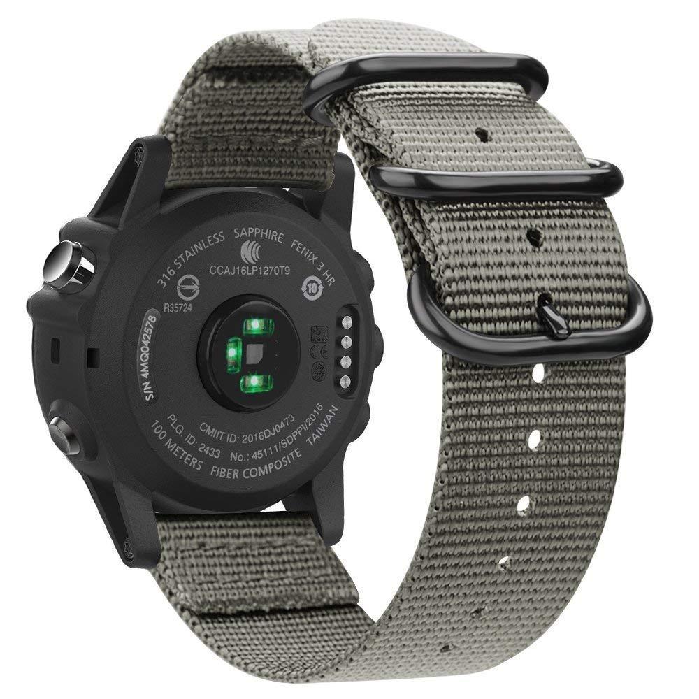 For Garmin Fenix 3/Fenix 5X Watch Band, 26mm Nato Military Premium Woven Nylon