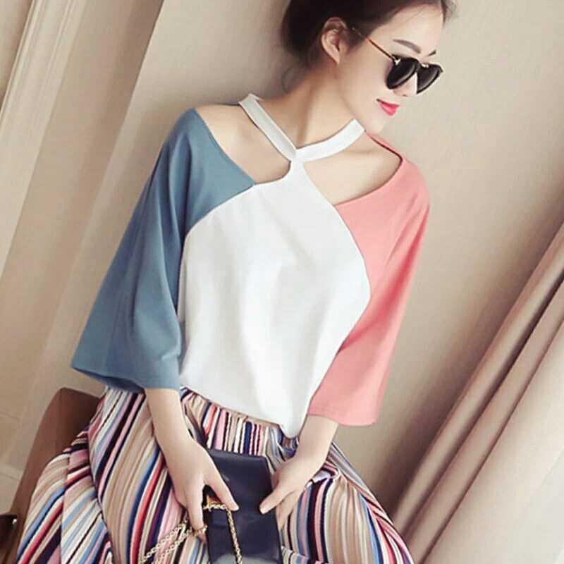 476425be62f136 Off the Shoulder Tops Korean Style Short Sleeve T-shirt women Summer Loose  Versatile BF