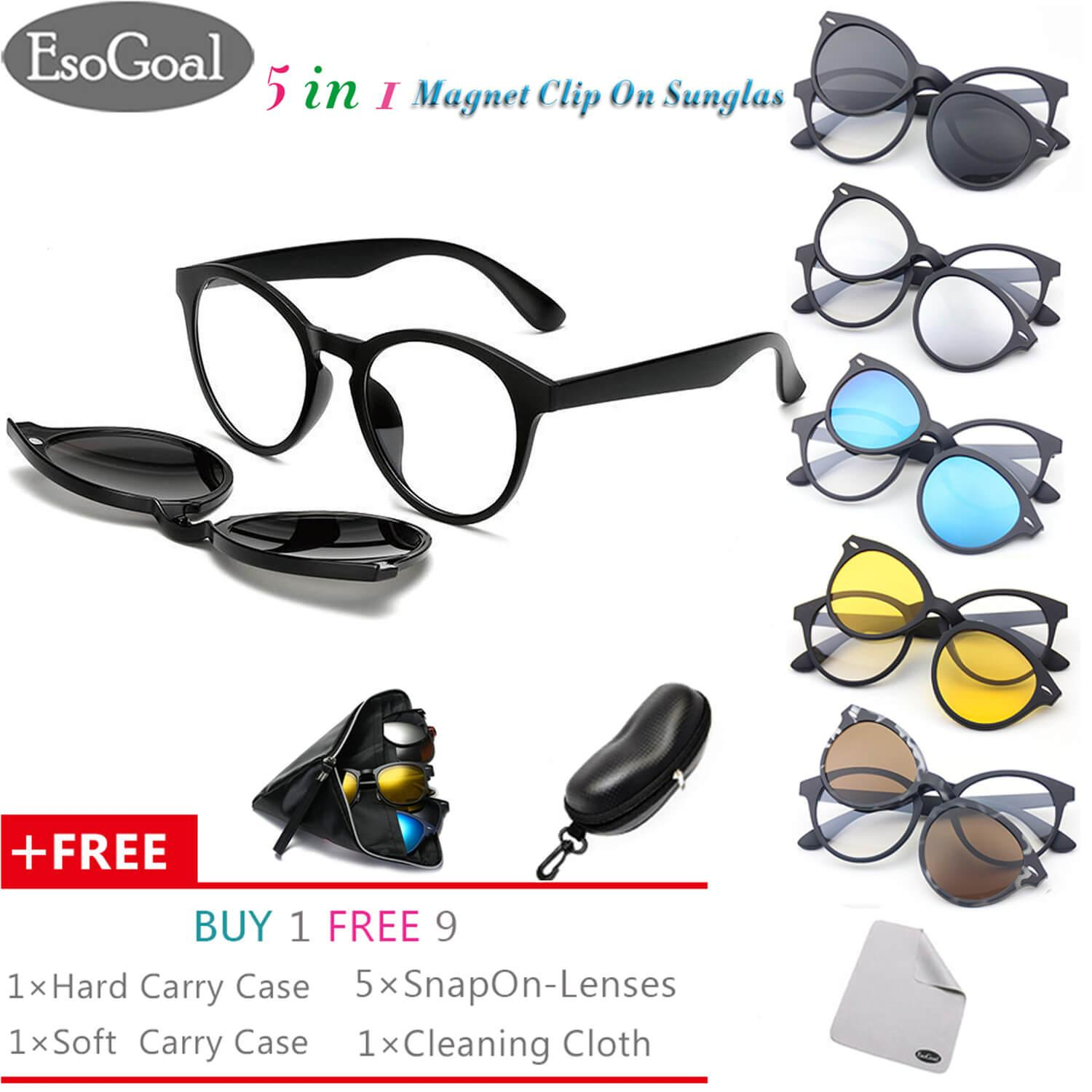 e9a6aeb998a EsoGoal Magnetic Sunglasses Clip On Glasses Unisex Polarized Lenses Retro  Frame with Set of 5 lenses