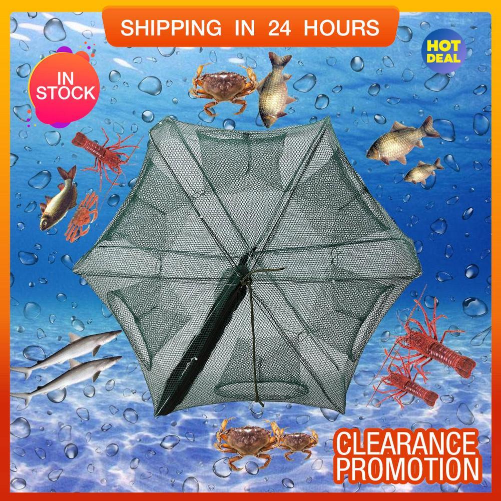 【Hot Sale】6 Holes Automatic Fishing Net Shrimp Cage Nylon Foldable Crab Fish Trap