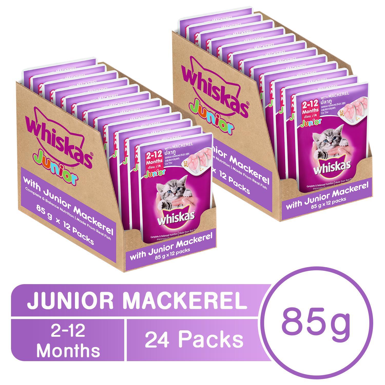 Whiskas Junior Mackerel Pouch Wet Cat Food Case of 24 (85g)